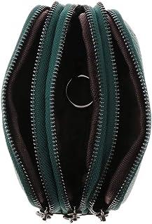 comprar comparacion Exclusivo Diseño Mujer Monedero de Tres Cremallera Cartera de Cuero Multifuncional Regalos - Verde