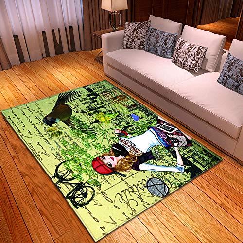 alfombra Bicicleta de niña de dibujos animados negro blanco verde Lana corta 100% poliéster alfombra impresa 160 x 230 cm Alfombra Antideslizante Adecuado para Dormitorio Estudio Habitación Infantil