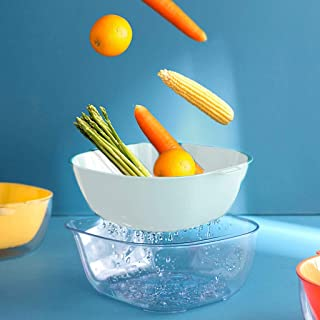 Nesee 2 in 1 Kitchen Strainer/Colander Bowl Sets, Large Plastic Washing Bowl and Strainer, Detachable Colanders Strainers Set, Space Saver for Fruits Vegetable Cleaning Washing Mixing