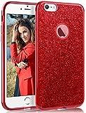 Coovertify Funda Purpurina Brillante Red Rose iPhone 6/6S, Carcasa roja Resistente de Gel Silicona con Brillo Rojo Rosa para Apple iPhone 6 6S (4,7')