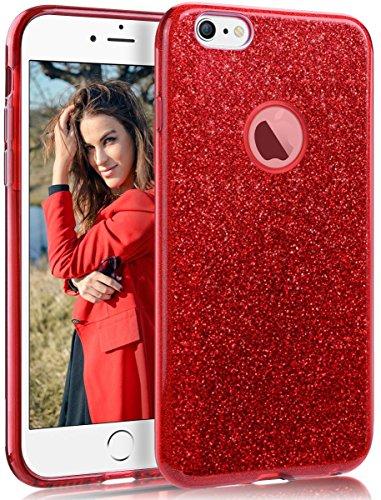 Coovertify Funda Purpurina Brillante Red Rose iPhone 6/6S Plus, Carcasa roja Resistente de Gel Silicona con Brillo Rojo Rosa para Apple iPhone 6 6S Plus (5,5')