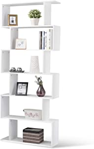 Tangkula 6 Shelf Bookcase, Modern S-Shaped Z-Shelf Style Bookshelf, Multifunctional Wooden Storage Display Stand Shelf for Living Room, Home Office, Bedroom, Bookcase Storage Shelf (1, White)