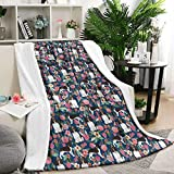 seventtynine English Springer Spaniel Floral Dog Throw Blanket Bed Blanket Fleece Blanket (60 X 80 Inches)