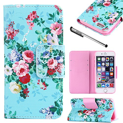 For Apple iPhone 6 / 6S (4.7''), Urvoix(TM) Rose Flower Desgin - Flip Stand PU Leather Holster Wallet Folder Case Cover for iPhone6 / iPhone6S (NOT for 6Plus) by Urvoix