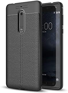 NALIA Leather Look Case Compatible with Nokia 5, Silicone Ultra-Thin Protective Phone Cover Rubber-Case Premium Gel Soft Skin, Shockproof Slim Back Bumper Protector Smartphone Back-Case Shell - Black