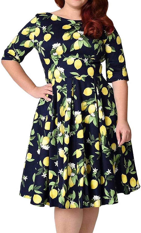 FUZHUANGHM Lemon Print Women Vintage Dress O Neck Half Sleeves Retro Dress Spring Autumn Elegant Office