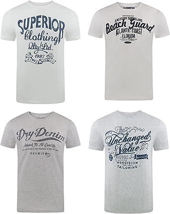 riverso RivLeon Men's Crew Neck T-Shirt Pack of 4 O-Neck Short Sleeve Print Tee Shirt 100% Cotton Regular Fit Green Blue White Grey Red Orange S M L XL 2XL 3XL 4XL 5XL
