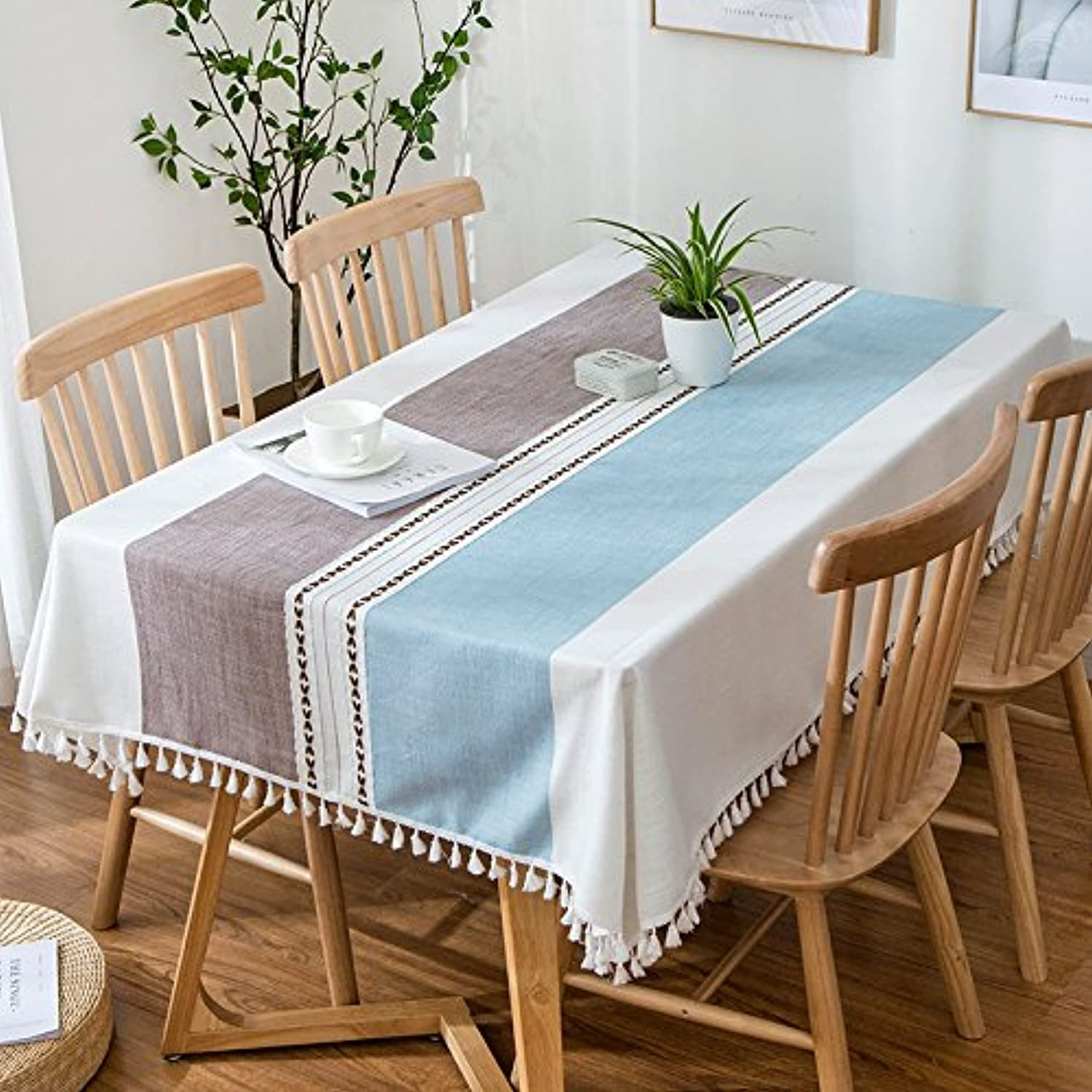 Creek Ywh Nordic minimalist ins small fresh cotton linen tablecloth tablecloth coffee table cover cloth stripes, color strips  bluee coffee strips (tassel side), 140220cm