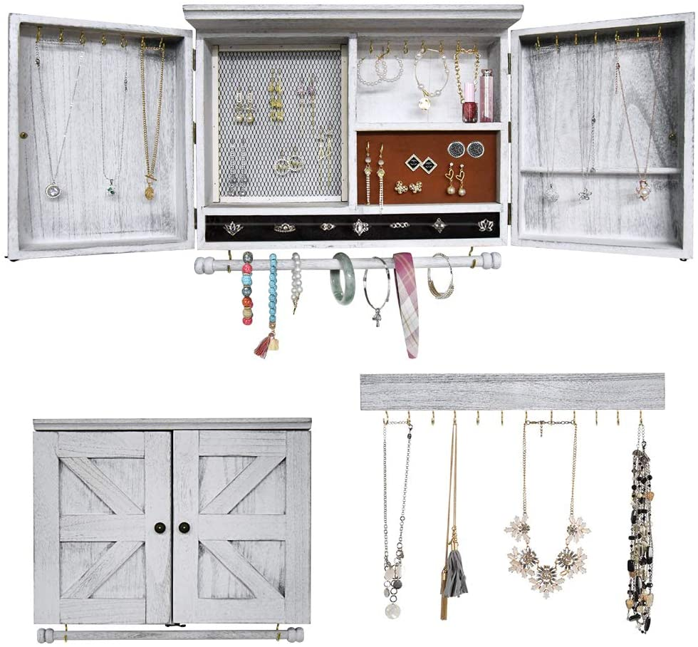 Ralph Rustic Wall New Shipping Free Great interest Mounted Jewelry Wooden Organizer with Barndoor