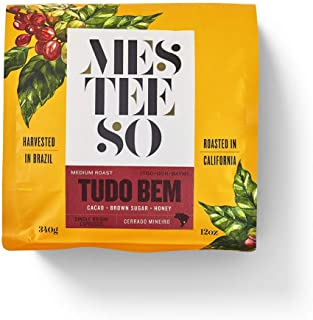 Mesteeso Tudo Bem Espresso Roast Coffee Ground for Filter Drip. Gourmet Blend Harvested in Brazil and Roasted in California, with Nutty and Chocolate Flavor and Brown Spices (12 oz / 340 g)