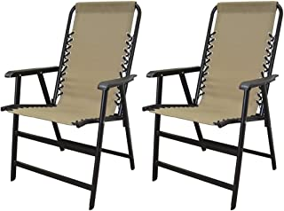 koonlert14 Outdoor Patio Folding Double Bungee System Chair Sturdy Steel Frame Lightweight Comfortable Durable Textaline Fabric Porch Garden Furniture - Set of 2 Beige #1940