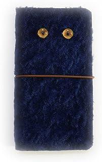 GALAXY Note Edge SC-01GSCL24 au [KYOTO SAKURAYA] 羊革 ファー ふわふわ 毛皮 紺色 ネイビー 手帳型 case スマホケース スマホ カバー ケース 携帯 ストラップ穴 カメラ穴 京都さくらや