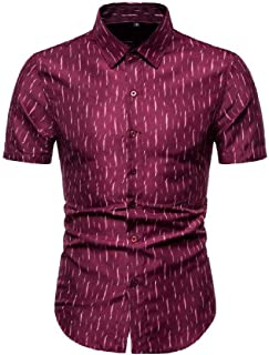 Macondoo Men's Printed Plus Size Floral Summer Casual Short Sleeve Button Down Shirts