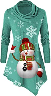 ♫Loosebee♫ Autumn Winter Sweatshirt Women Cowl Collar Snowman Snowflake Print Long Sleeves Tops Christmas Blouse