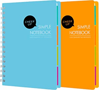 Cheer Up Spiral Notebook College Ruled، A5 Notebooks 4 موضوع با تقسیم ، 2 بسته (زرد آبی)