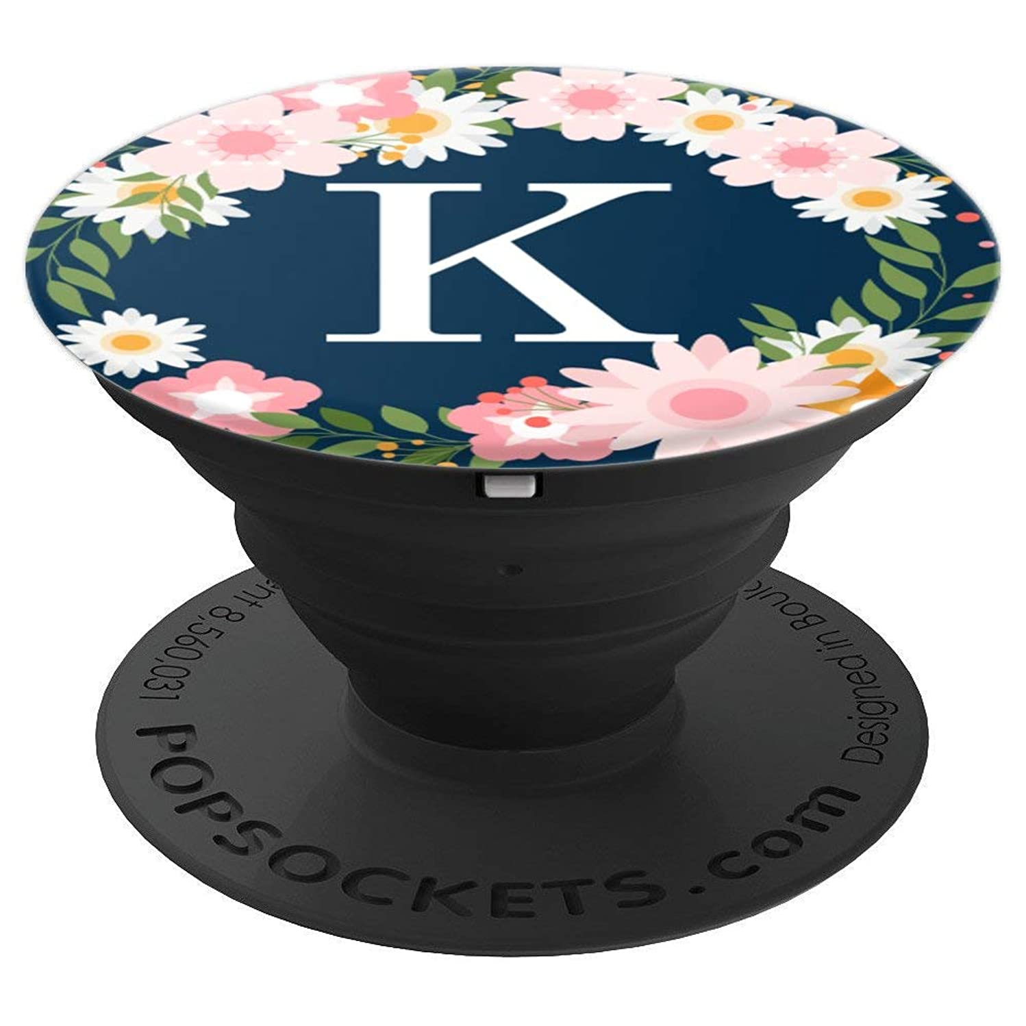 Initial Letter K Pink White Navy Blue Flower Wreath Monogram - PopSockets Grip and Stand for Phones and Tablets