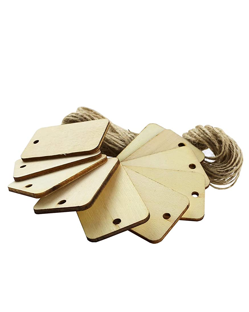 Twdrer 50PCS Wood Gift Tags Unfinished Wood Craft Supplies DIY Woodcrafts Blank Wooden Gift Tags Natural Hanging Wood Pieces for Wine,Decor,Wedding,Christmas,Halloween.(with 10PCS Jute Twines)