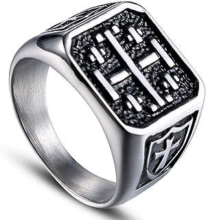 SUNAYC Anillo de Runas Vikingas N/órdicas Amuleto Odin de Nudo Celta de Acero Inoxidable para Hombres Joyer/ía Pagana de Mjolnir Br/újula Vintage Myth
