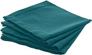 Atmosphera - Lot de 4 Serviettes de Table en Coton Chambray Bleu Canard 40 x 40 cm