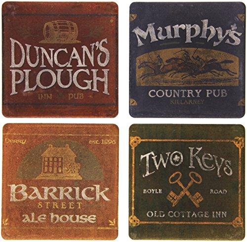 CoasterStone Absorbent Coasters, 4-1/4-Inch, 'Irish Pubs', Set of 4