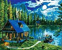 DIY ペイント 数字 キャンバス 油絵キット 子供&大人用 16インチ x 20インチ 描画用ペイントワーク ペイントブラシ アクリル顔料 - The Lake