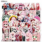 Darling in The FRANXX 02 Stickers 100pcs Vinyl Waterproof Zero Two Stickers Classic Japanese Anime Stickers for Kids Teens Adults for Laptop Water Bottles Computer Travel Case Skateboard
