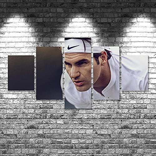 BHJIO Impresiones En Lienzo 5 Piezas Tenis Roger Federer. Poster HD En Lienzo Modular Modern Interior Decorations Wall Art-Tamaño Regalo 150 * 80Cm.