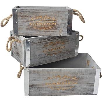 Hogar y Mas Cajas de Madera Decorativa Vintage Set de 3, Caja Almacenamiento Decoración.: Amazon.es: Hogar