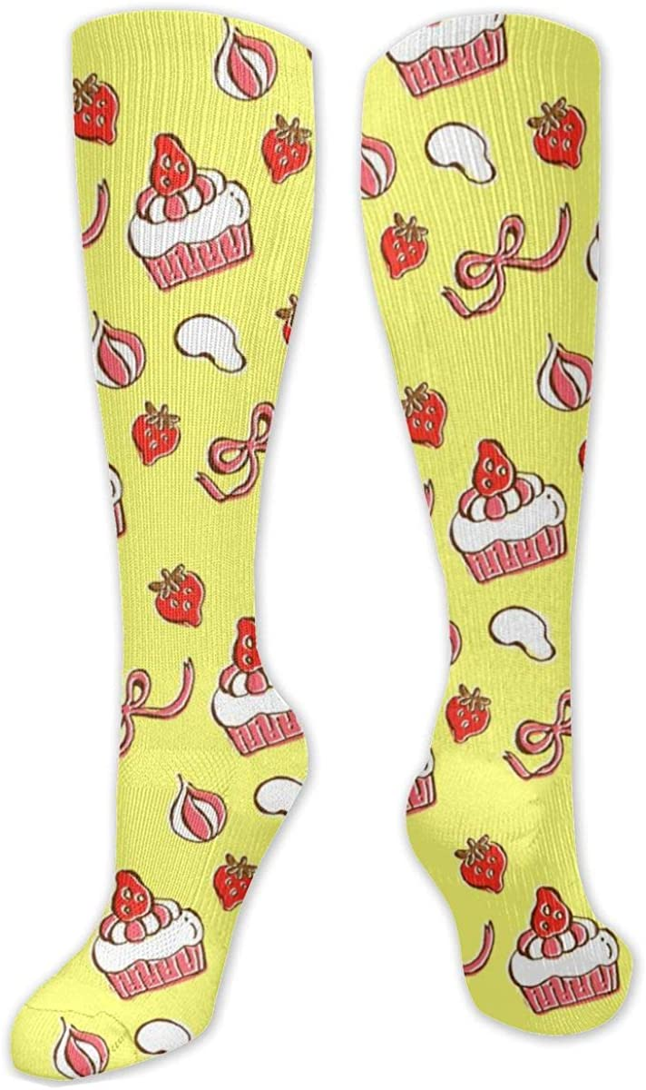 Strawberry Cake Knee High Socks Leg Warmer Dresses Long Boot Stockings For Womens Cosplay Daily Wear