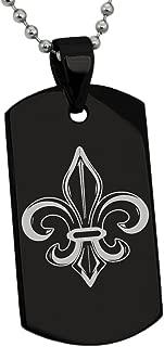 Stainless Steel Valorous Fleur De Lis Symbol Dog Tag Pendant Necklace