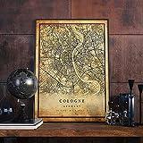 MG global Póster de mapa vintage de Colonia | Impresión artística de la ciudad | Antiguo, rústico, estilo viejo decoración del hogar | Alemania impresiones regalo | M542 sin marco