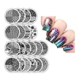 Winstonia Nail Art Stamping Plates 20 Pcs Bundle Set Manicure Stencils Easy Stamps Disc, 3rd Generation