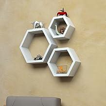 Driftingwood Wall Shelf Rack Hexagon Shape Storage Wall Shelves Set of 3 - White