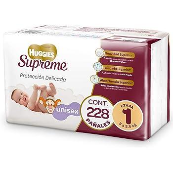 Huggies Supreme Pañal Desechable para Bebé, Etapa 1 Unisex, Caja con 228 Piezas, Ideal para Bebés de 3 a 5.5 kg