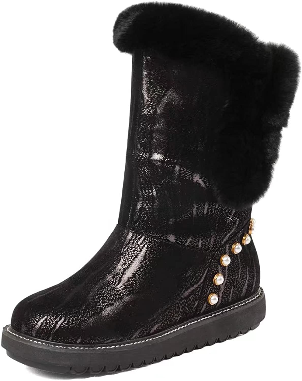 VIMISAOI Women's Genuine Leather Black Snow Boots Platform Pearl Winter Ankle Boots