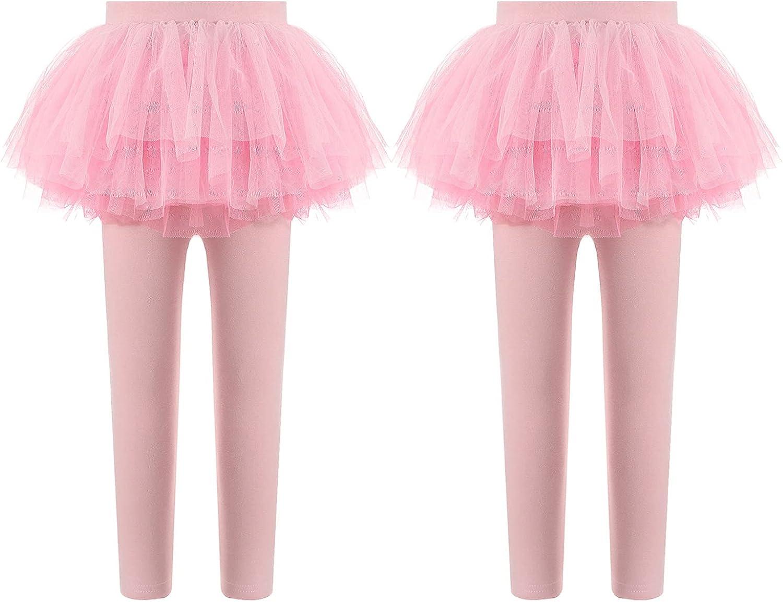 JanJean Kids Girls Footless Capri Leggings with Layered Tutu Skirt High Waist Ruffle Skirted Pants Stretchy Cotton Pants
