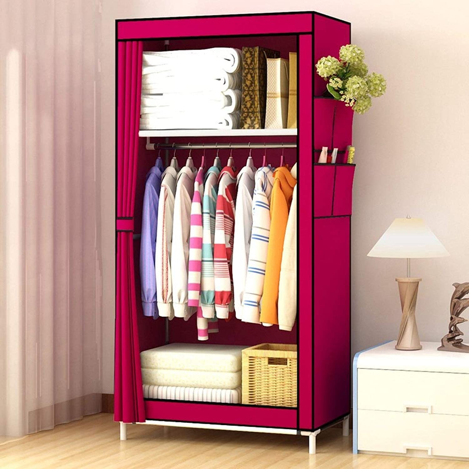 PingFanMi Simple Cloth Wardrobe, Indoor and Outdoor Clothes Hanging Wardrobe Small Canvas Fabric Cabinet, Combination Wardrobe Storage Floor Cabinet Detachable, Frame Structure (Storage Storage)