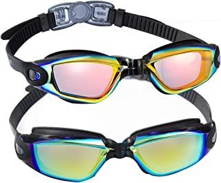 EverSport Swim Goggles, Pack of 2 Swimming Goggles, Swim Glasses No Leaking Anti Fog UV Protection for Adult Men Women Youth Kids Child, Shatter-Proof, Watertight, Triathlon Goggle Mirrored/Clear Lens