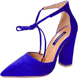 Maybest Women Ankle Lace-Up High Block Heel Office Work Court Shoes Pointed  Toe Suede dfd06c98b6a2