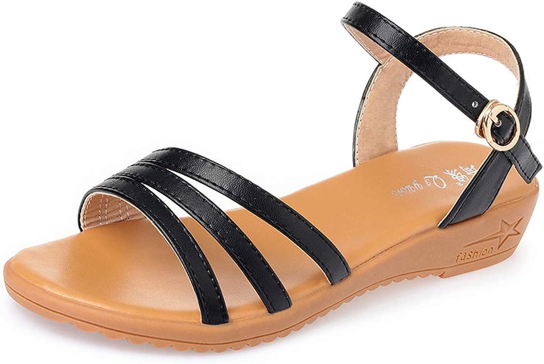 Frauen Riemchensandalen Sommer Schuhe Komfortable Flache Ferse Offene spitze Sommer Knchelriemen Urlaub Sandalen Flip Flops