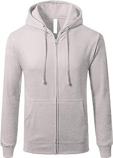JD Apparel Men's Triblend Hipster Fleece Full Zip Up with Kanga Pocket Hoodies