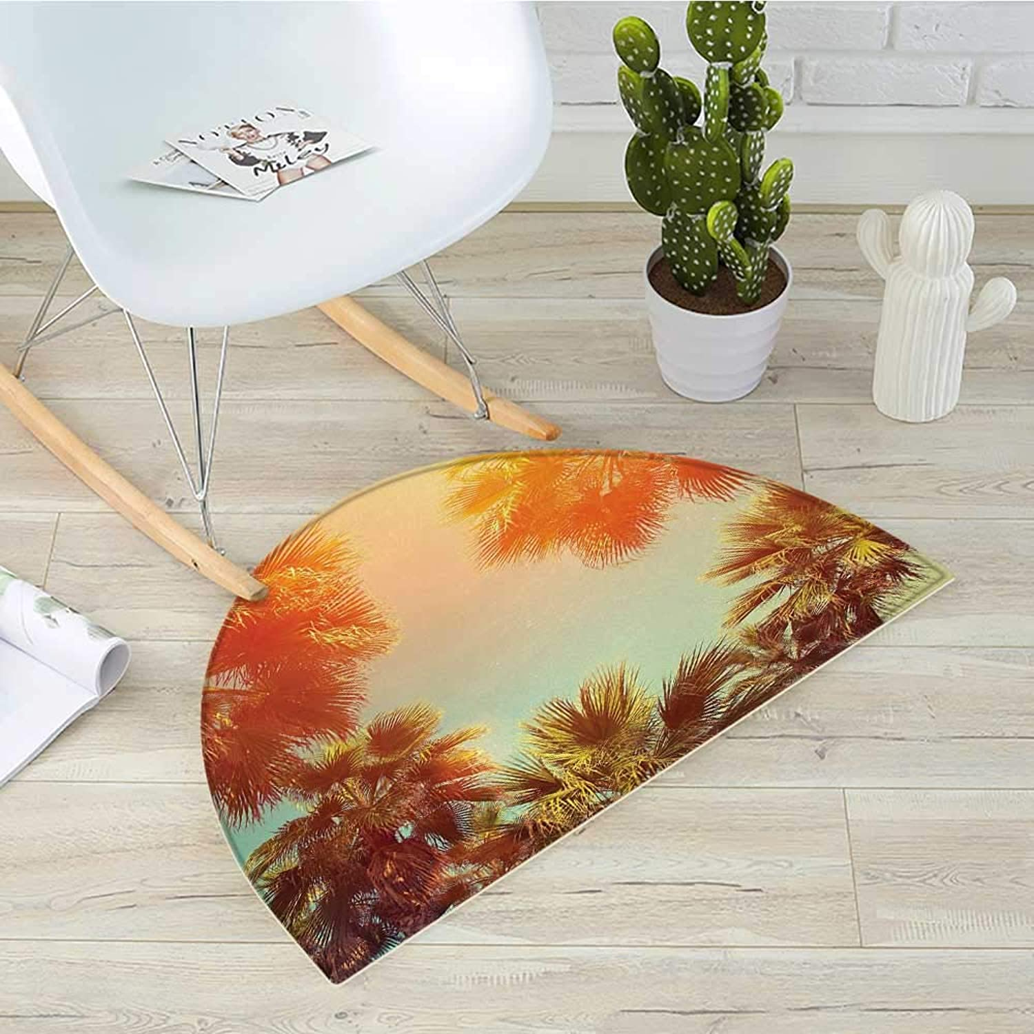 Palm Tree Semicircle Doormat Trees in Sunlights Tranquility in Tropical Nature Landscape at Summer Theme Halfmoon doormats H 43.3  xD 64.9  orange Green