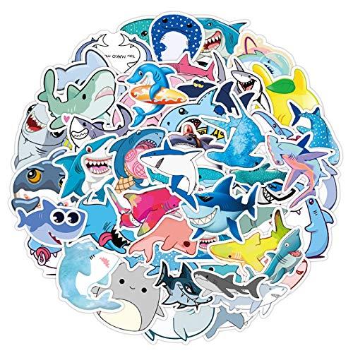 YMSD Etiqueta engomada del tiburón dibujos animados lindo océano pescado portátil personalizado DIY impermeable decoración pvc graffiti pegatinas