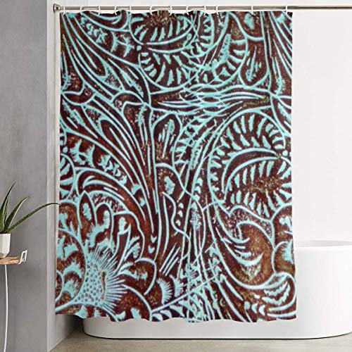 MAHENSHANGM Country Teal Brown Western Rustic Tooled Cowboy Shower Curtain Fabric Shower Curtains Decor Set 60 X 72 inch