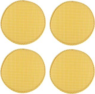 4 Pack Round Non Slip Cushions Seat Kitchen & Dining Office High Stool Chair Pads Sponge Firm Seat Bar Pad with Ties 13 Inch Yellow Grim