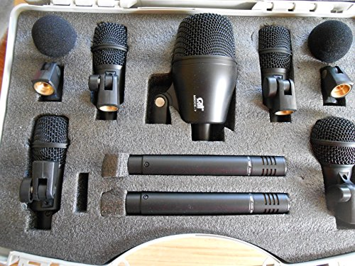Drum Microphones: 7 Piece set of Drum Mics with 4 FREE Rim Clips and 7 FREE Cables!