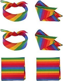Auidy_6TXD Regenbogen-Bandana Unisex Regenbogen-Streifen Stirnband quadratischer Schal für Partys oder den Alltag, Baumwolle, 6 Stück
