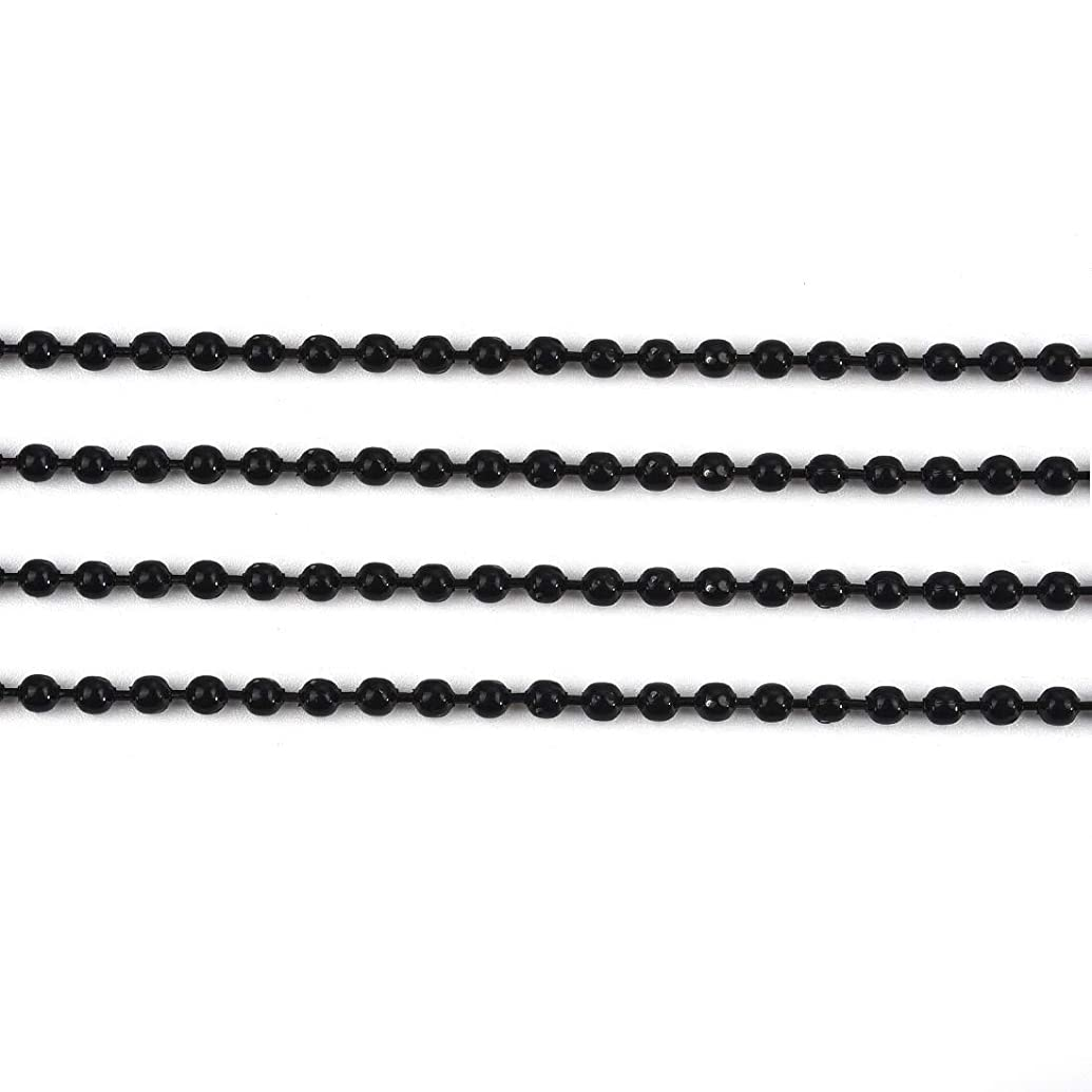20Pcs Ball Beads Chain Necklace Bulk for Jewelry Making Platinum Plated Bead Chain Adjustable Metal Pull Chain Extension Beaded Chain with Matching Connector Black Chain #8