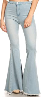 Women's Classic Retro High Waist Long Denim Bell Bottom Jeans