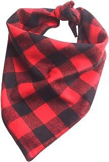 YAKA Pet Dog Bandana Triangle Bibs Scarf, Double-Cotton Plaid Printing Kerchief Set Accessories